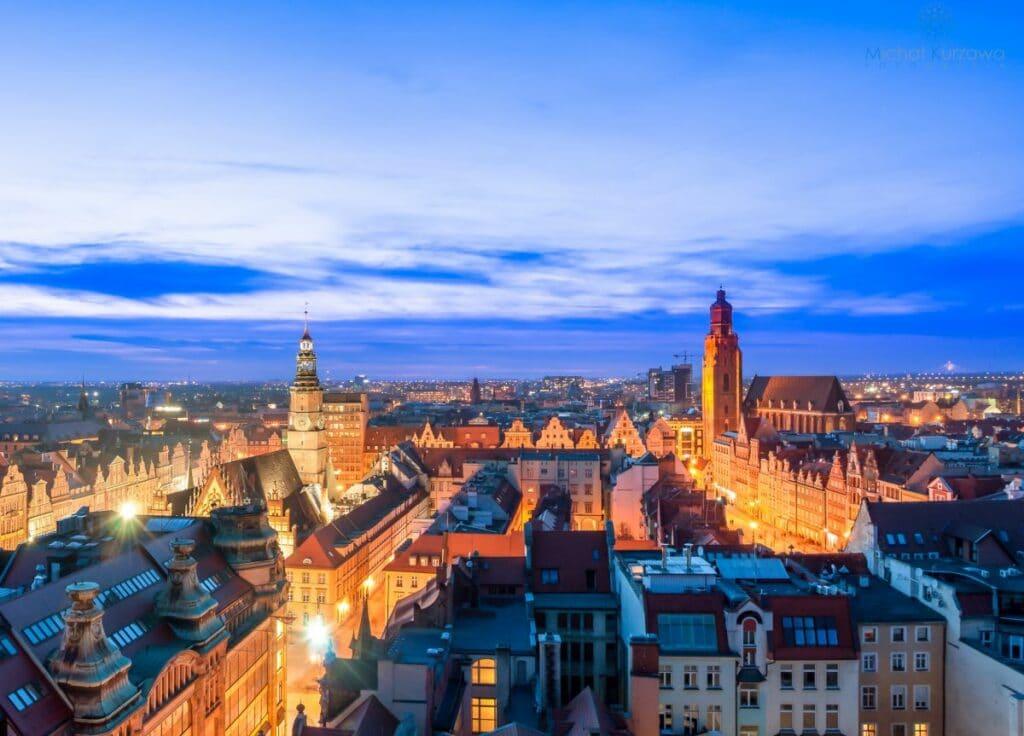 Widok na Wrocław z Mostka Pokutnic