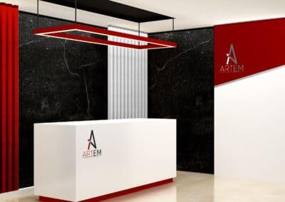 Wizualizacja logo agencji artystycznej w holu wejściowym