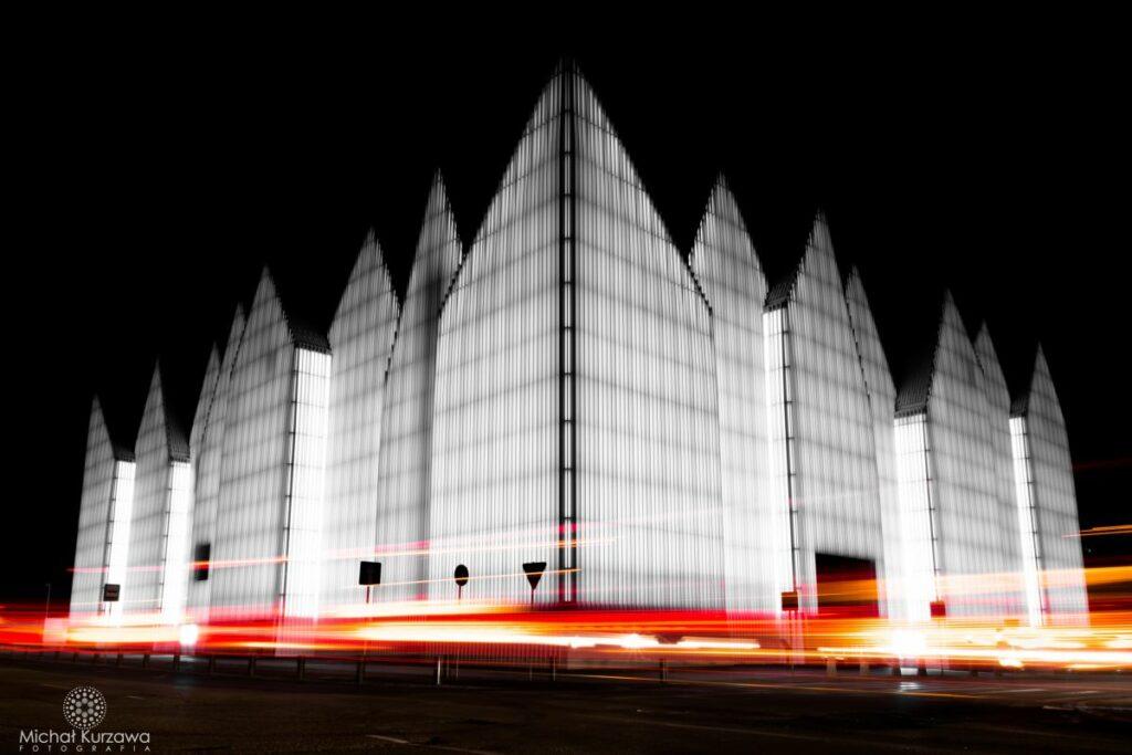Mujzeum narodowe w szczecinie w nocy
