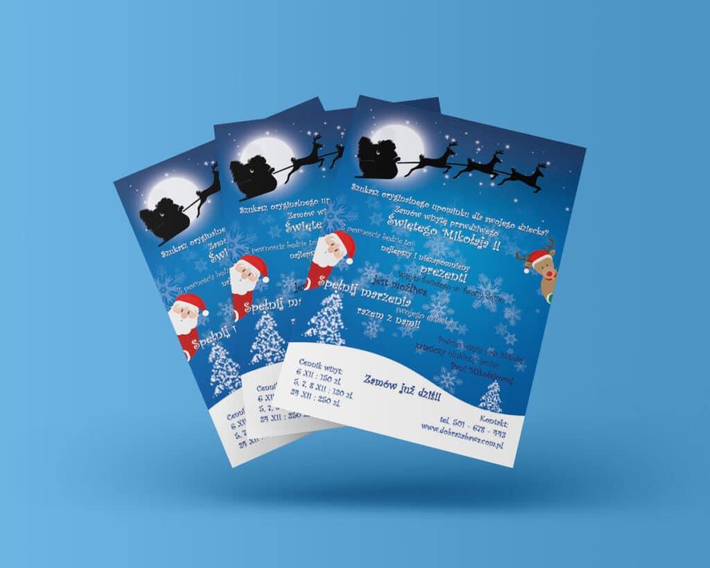 Ulotka reklamująca even świąteczny dla dzieci