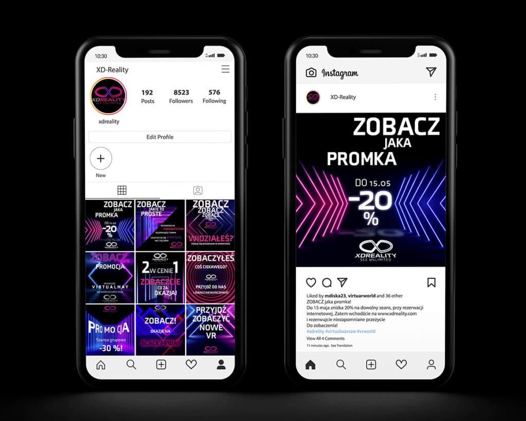 Grafiki na Instagram dla firmy zajmującej się seansami VR