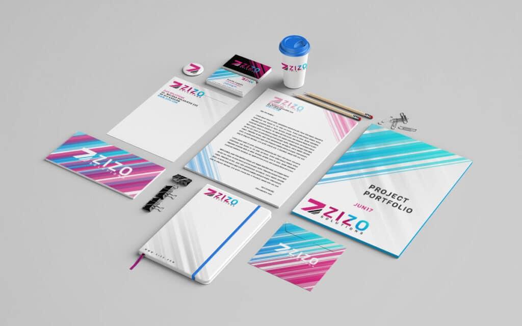Nowoczesna identyfikacja wizualna firmy w odcieniach niebiesko-fioletowych